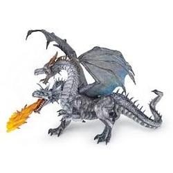 Figurina Papo - Dragon cu 2 capete argintiu