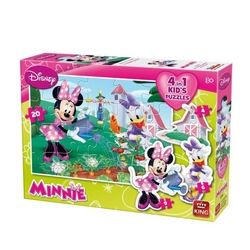Puzzle 4 in 1 profilat Minnie Mouse (4,6,9,20 piese)