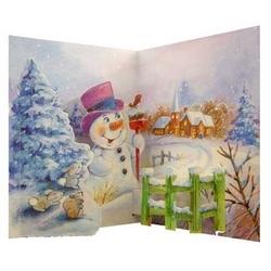 "Felicitare de iarna Popsies ""Snowman in scene"""