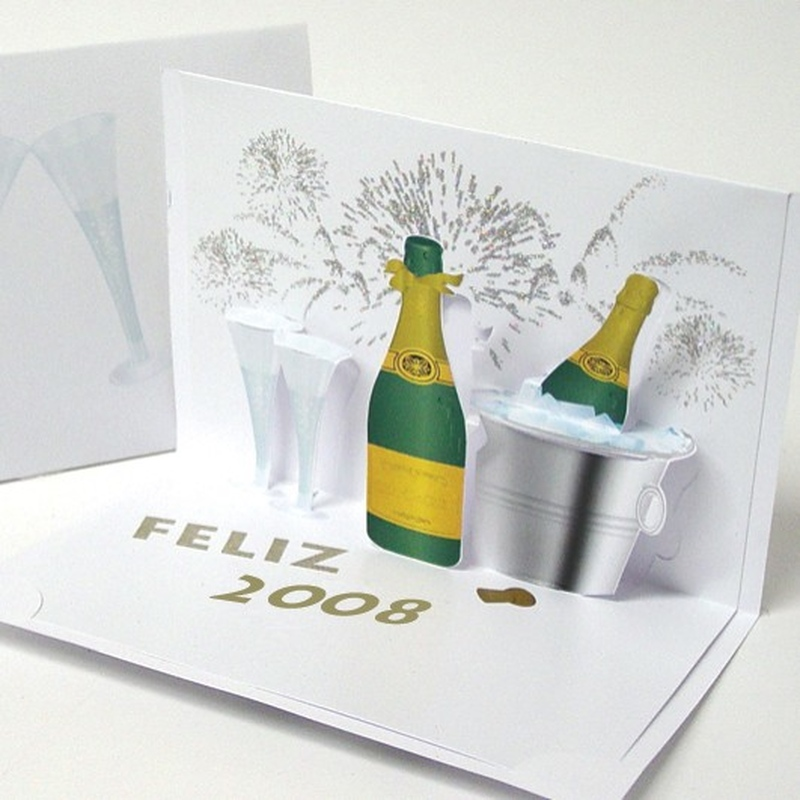 Felicitare 3D stil Origami Sampanie 2008