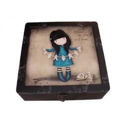 Gorjuss cutie medie din lemn+ceramica Family in a Book