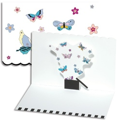 Set 8 felicitari Trespanache cu aplicatii interioare-Fluturasi
