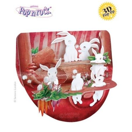 Felicitare 3D Popnrock-Iepuri in padure