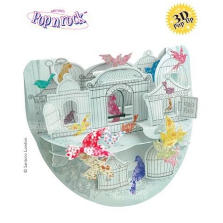 Felicitare 3D Popnrock-Pasari in colivii