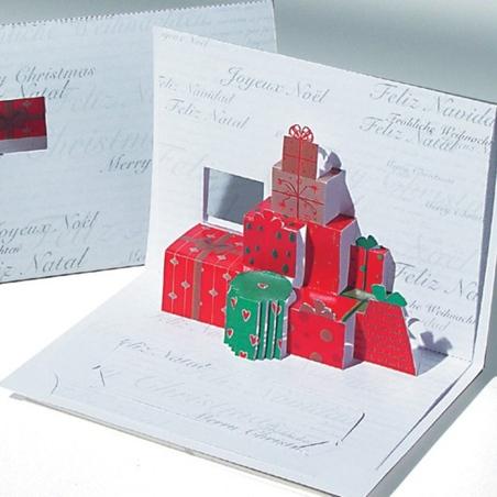 Felicitare Cadouri de craciun 3D Origami stil