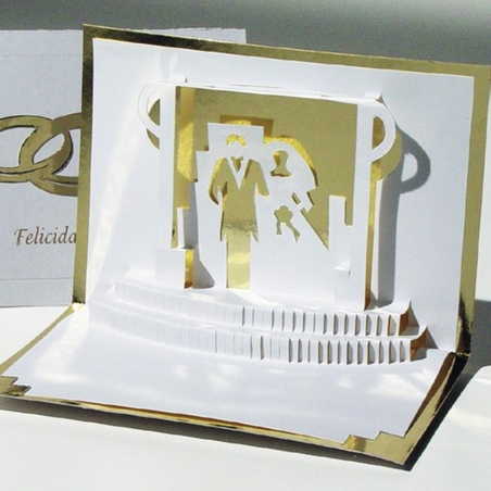 Felicitare 3D stil Origami-Nunta de aur