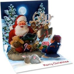 Felicitare 3D pentru iarna-Mos Craciun si Elful sau