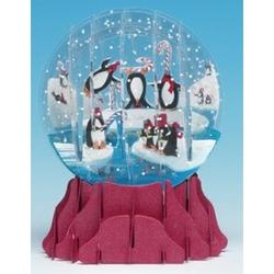 Felicitare 3D tip glob-Pinguini