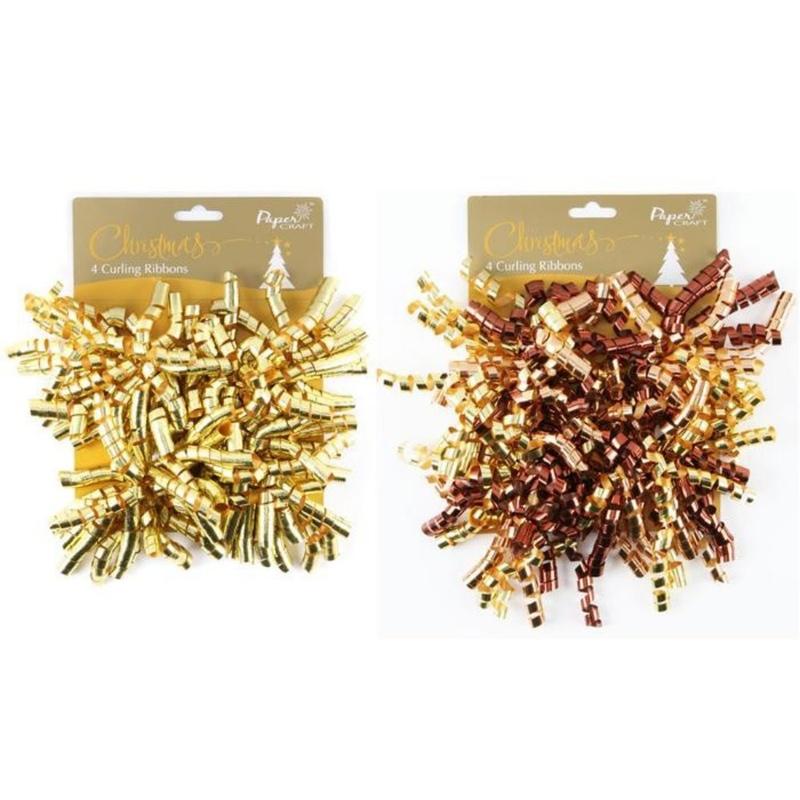 Set 4 pompoane auriu metalizat carlionate pentru decorarea cadoului