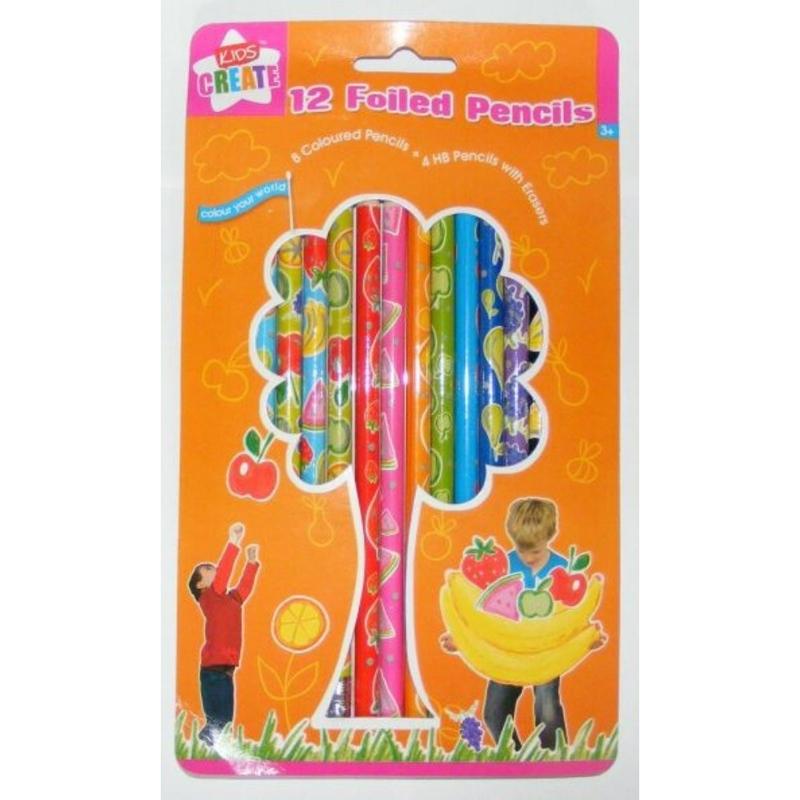 CREIOANE FOILED 8 colorate si 4 creioane cu mina HB