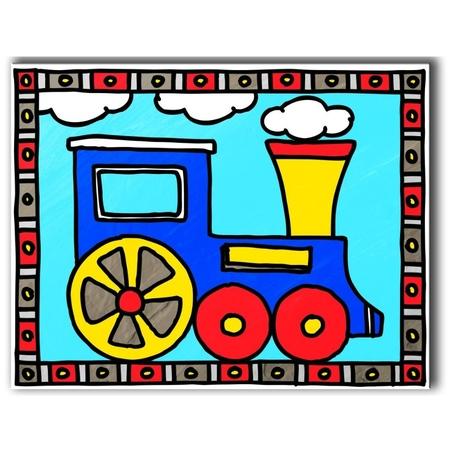 Primele mele 2 picturi pe nr junior-Tren&vapor 24x33 cm