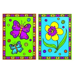 Primele mele minipicturi pe nr. Floare & fluture