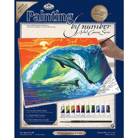 Set pictura pe panza 28x36x25 - Delfini