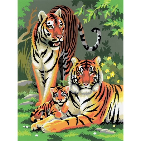 Prima mea pictura pe numere - Tigri