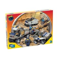 Set de construit-baza militara cu 3 autovehicule militare-451 piese