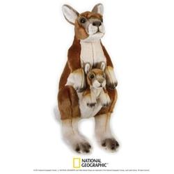 Cangur cu pui 44 cm-Jucarie din plus National Geographic