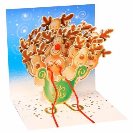 Minifelicitare 3D Craciun - Reindeer sleigh
