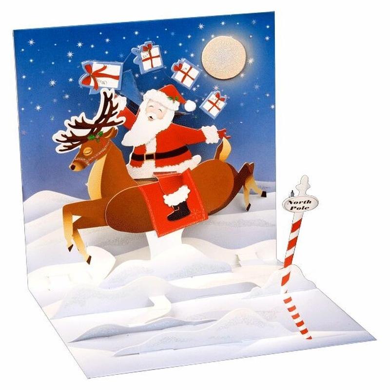 Minifelicitare 3D Craciun - Reindeer Ride