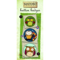 Set 3 insigne Owls  6.4x14.3 cm
