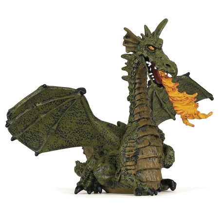 Figurina Papo-Dragon verde inaripat cu flacara
