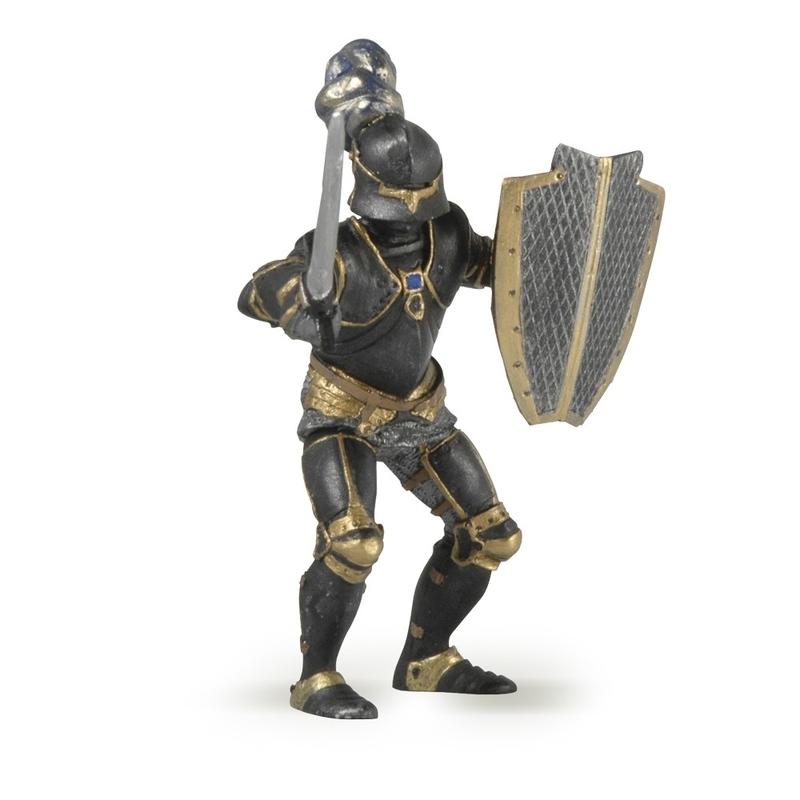 Figurina Papo Cavaler in armura (negru)