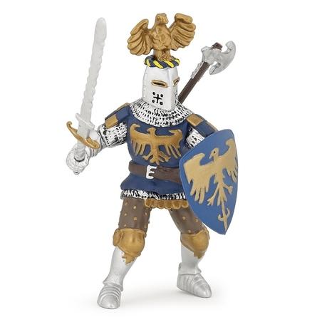Figurina Papo-Cavaler albastru cu creasta