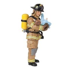 Pompier galben cu copil in brate - Figurina Papo