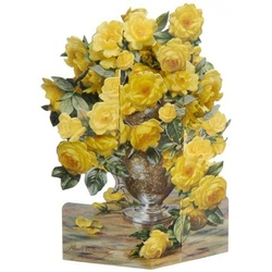 Felicitare 3D-Trandafiri galbeni