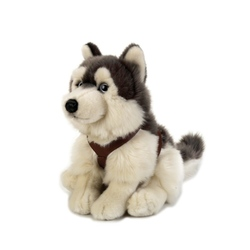 Jucarie din plus National Geographic Lup siberian Husky 25 cm