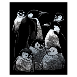 Gravura pe folie argintie-Familie de pinguini