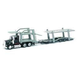 Camion diecast Kenworth W900 cu trailer pentru auto