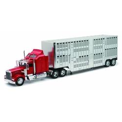 Camion diecast Kenworth W900 cromat pentru transport animale vii