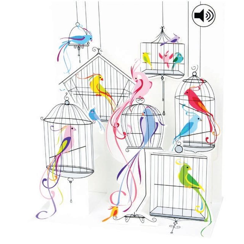 Felicitare 3D muzicala Pasari in colivie