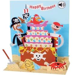 Felicitare 3D muzicala Tort cu pirati