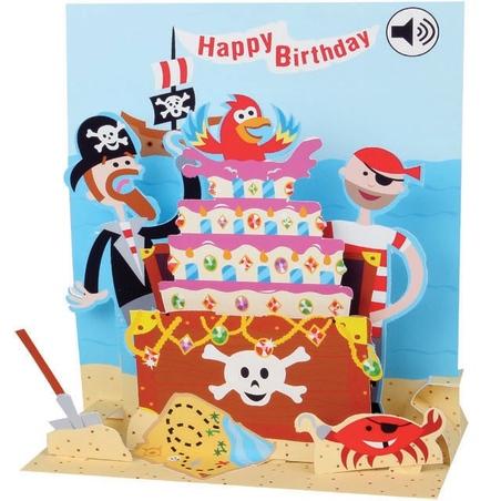 Felicitare muzicala Tort cu pirati