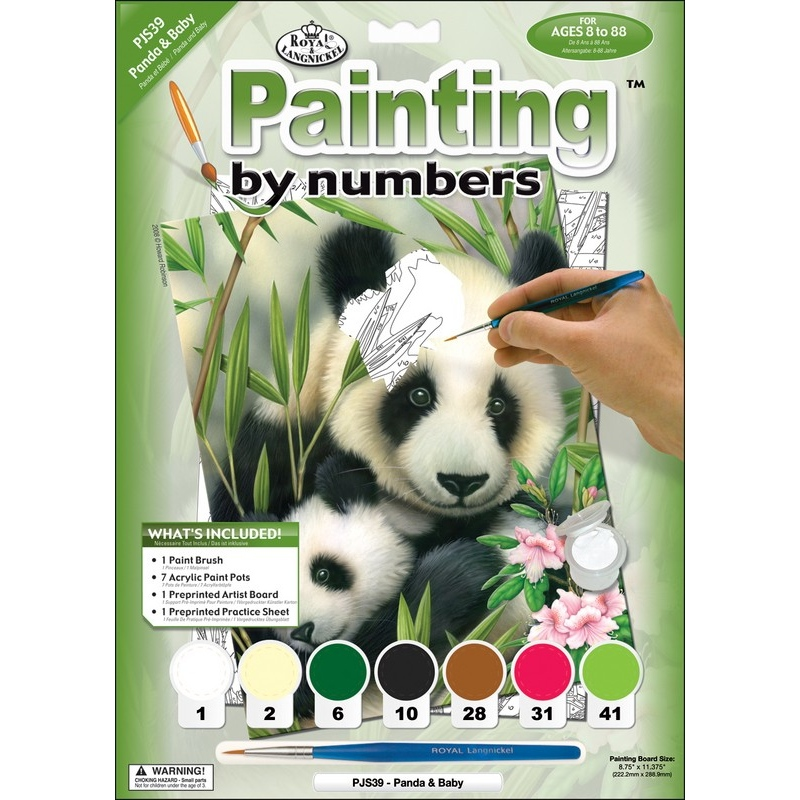 Prima mea pictura pe nr.junior mic-Panda&pui 24x33 cm