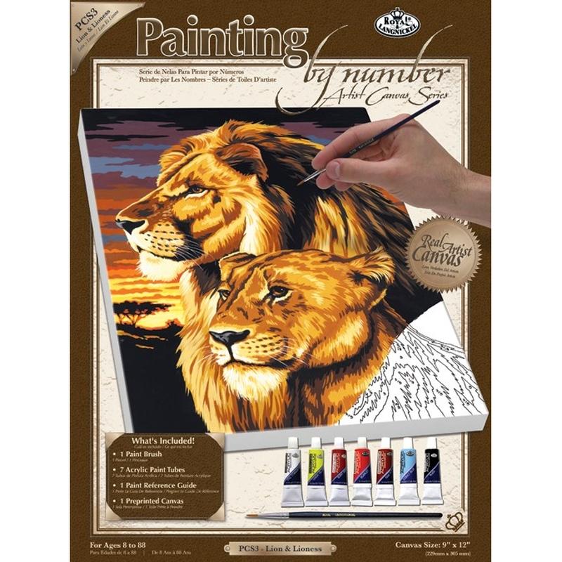 Pictura pe panza 23x31x2,5 cm - Familia de lei