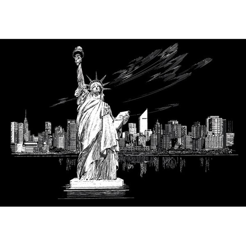 Set gravura - locuri celebre-Statuia Libertatii 29x39cm