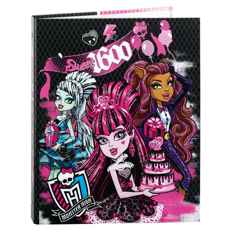Biblioraft A4 cu 4 inele din carton colectia Monster High