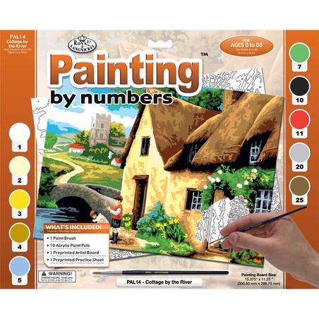 """Pictura creativa pe numere avansati - """"Case pe malul raului"""""""