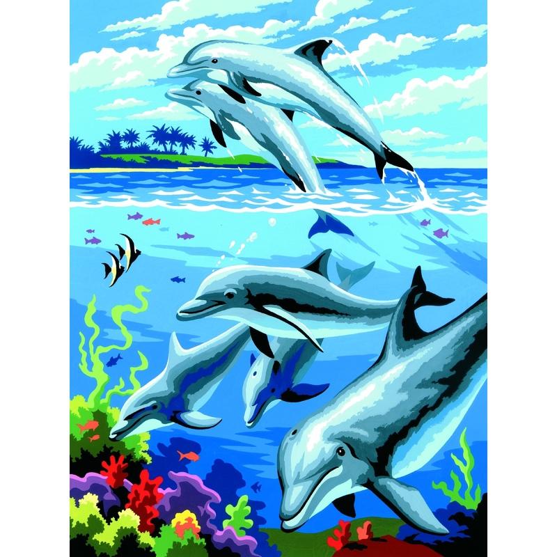 Prima mea pictura pe nr.junior mic- Delfini 24x33 cm