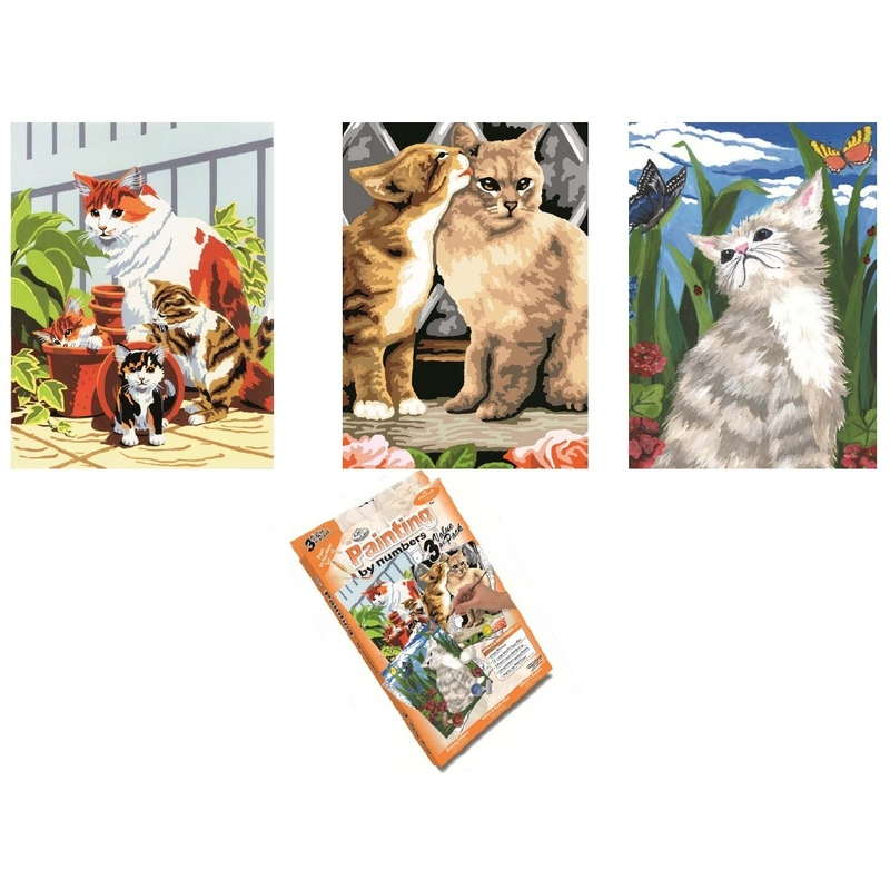 Primul meu set de pictura pe numere (3 picturi 23x30 cm) Pisicute