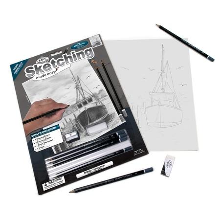 Set pentru realizarea unui desen in creion - Barca de pescuit