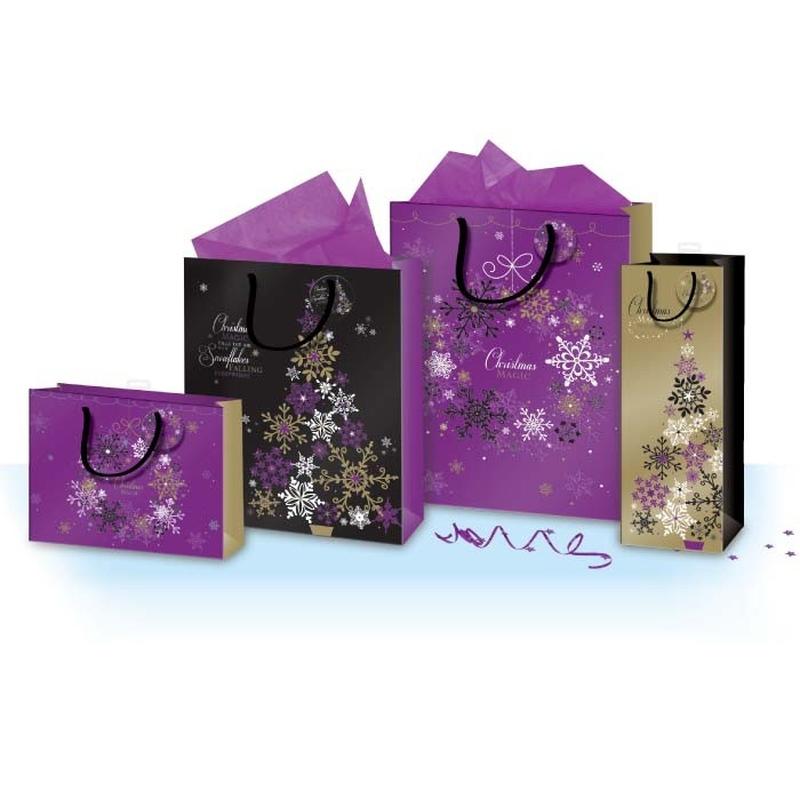 Punga pentru cadou cu tematica de iarna / Craciun cu folie aurie L