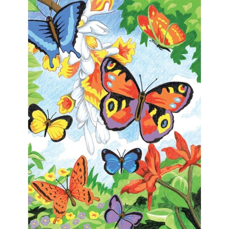 Set creativ educativ - Coloreaza pe numere - Fluturi