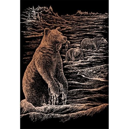 Set gravura pe folie din cupru - Ursi grizli