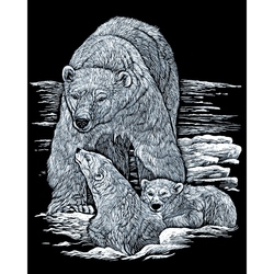 Set gravura pe folie argintie - Urs polar