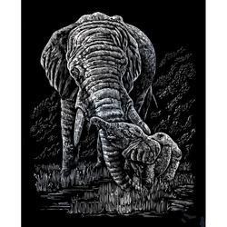 Set gravura pe folie argintie - Elefanti