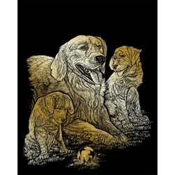 Set gravura pe folie aurie - Catel Golden Retriever