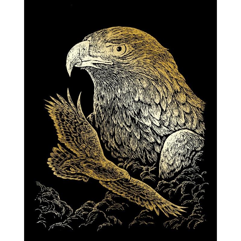 Set gravura pe folie aurie - Vulturi